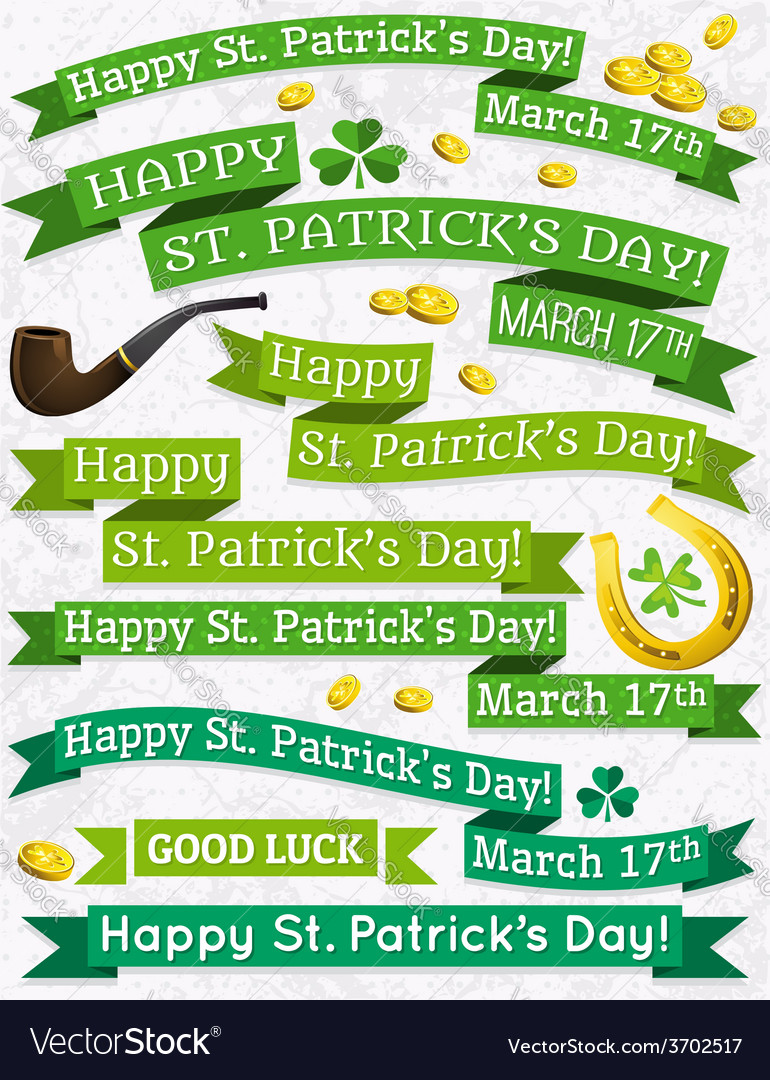 Set of ribbon for st patricks day vector | Price: 1 Credit (USD $1)