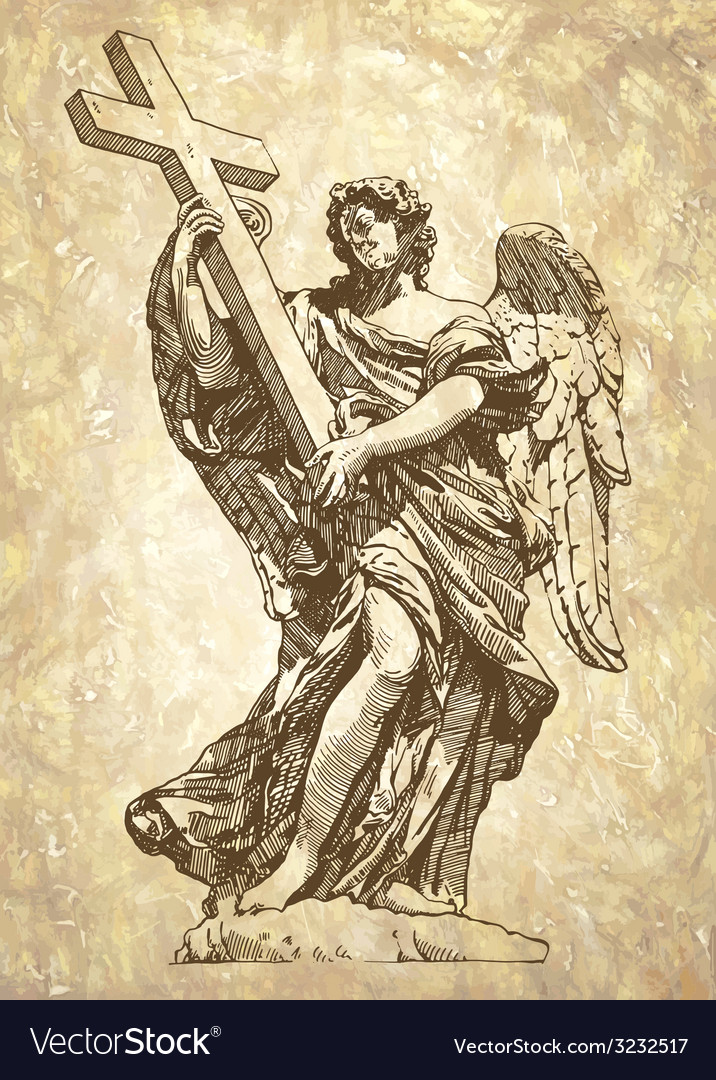 Sketch digital drawing marble statue of angel vector | Price: 1 Credit (USD $1)