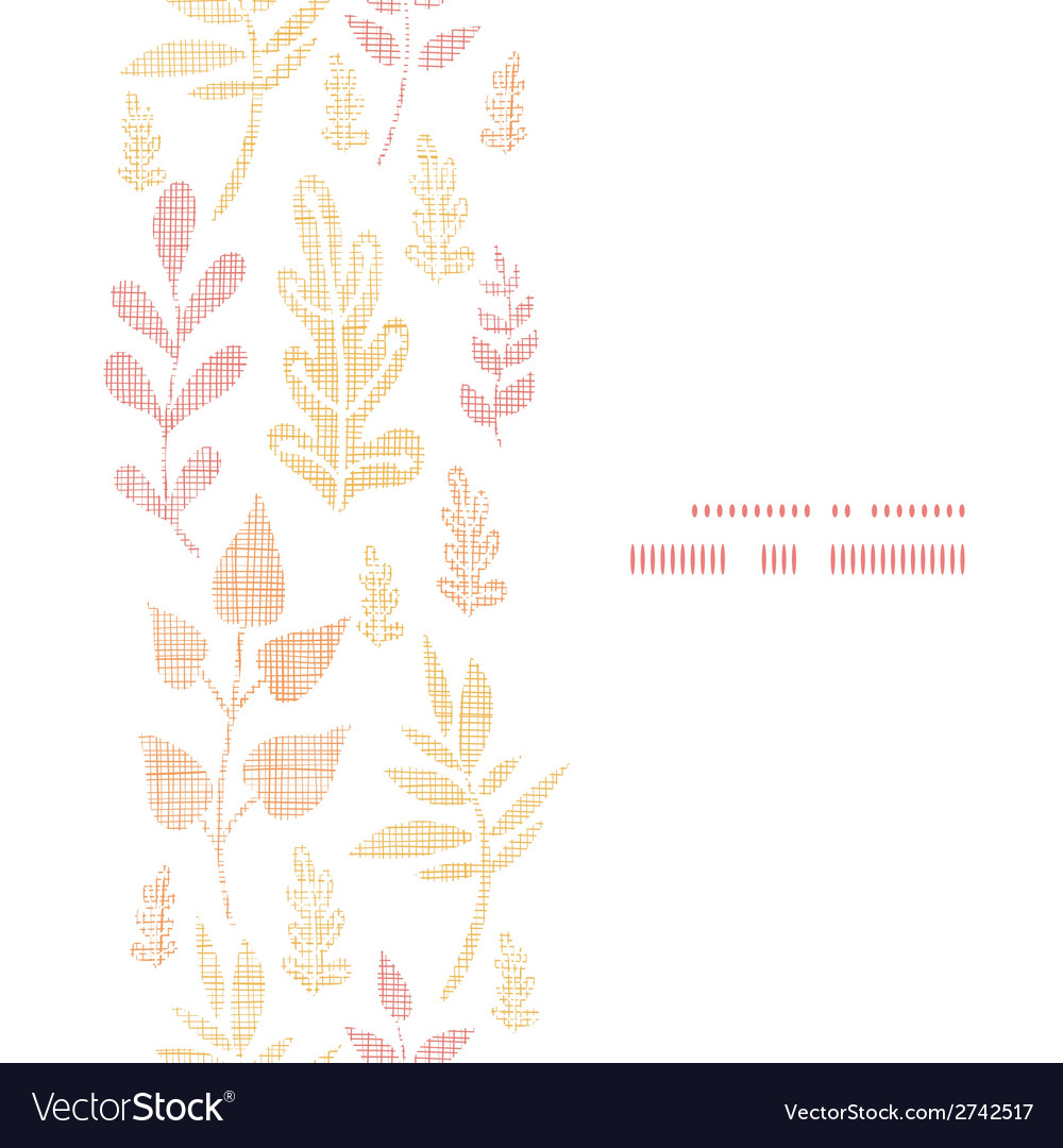 Textile textured fall leaves vertical frame vector | Price: 1 Credit (USD $1)