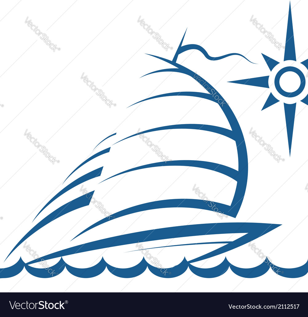 Yacht on the waves vector | Price: 1 Credit (USD $1)