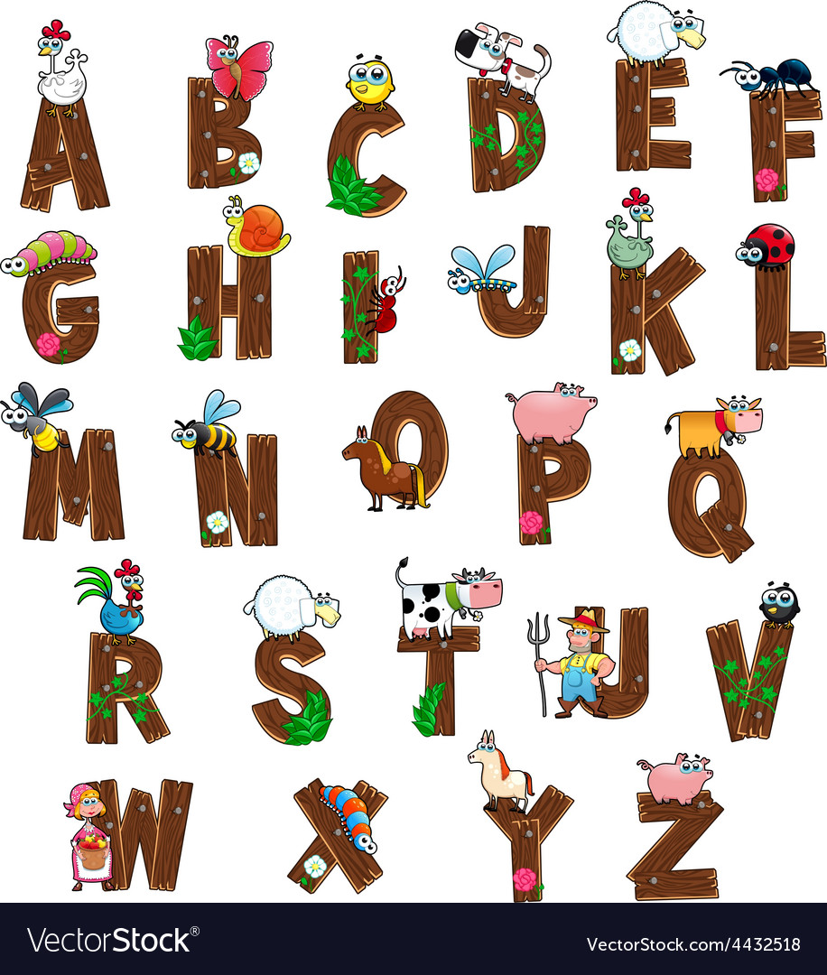 Alphabet with animals and farmers vector | Price: 3 Credit (USD $3)