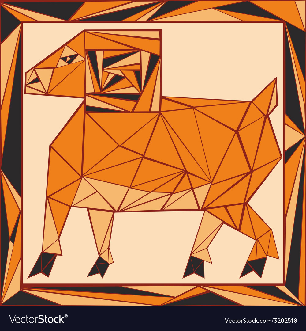 Chinese horoscope stylized stained glass ram vector | Price: 1 Credit (USD $1)