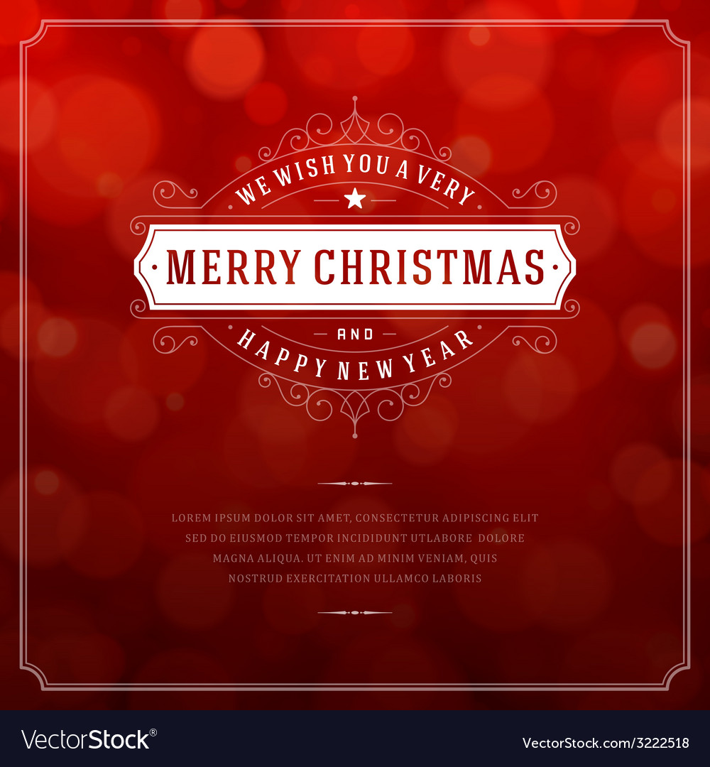 Christmas retro typography and light background vector | Price: 1 Credit (USD $1)