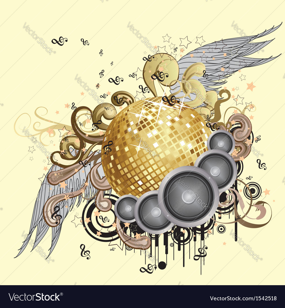 Gold disco ball with wings2 vector | Price: 1 Credit (USD $1)