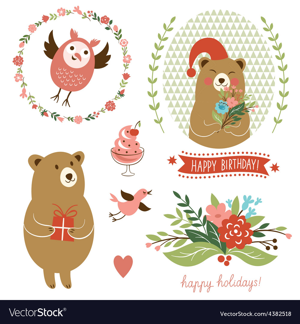 Holiday clip art set of cute animals vector | Price: 1 Credit (USD $1)