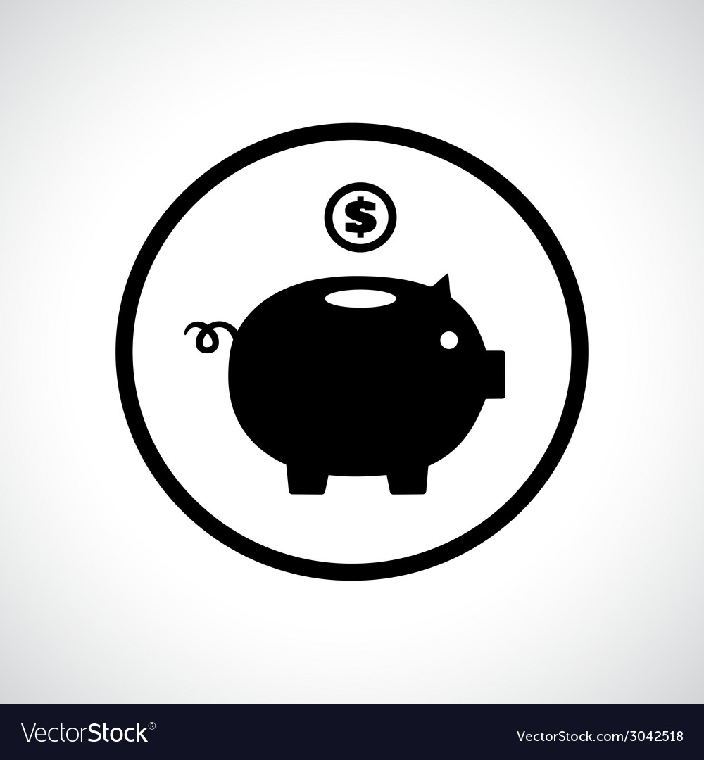 Piggy bank icon with a coin falling in vector | Price: 1 Credit (USD $1)