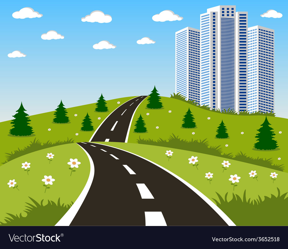 Road to a city vector | Price: 1 Credit (USD $1)