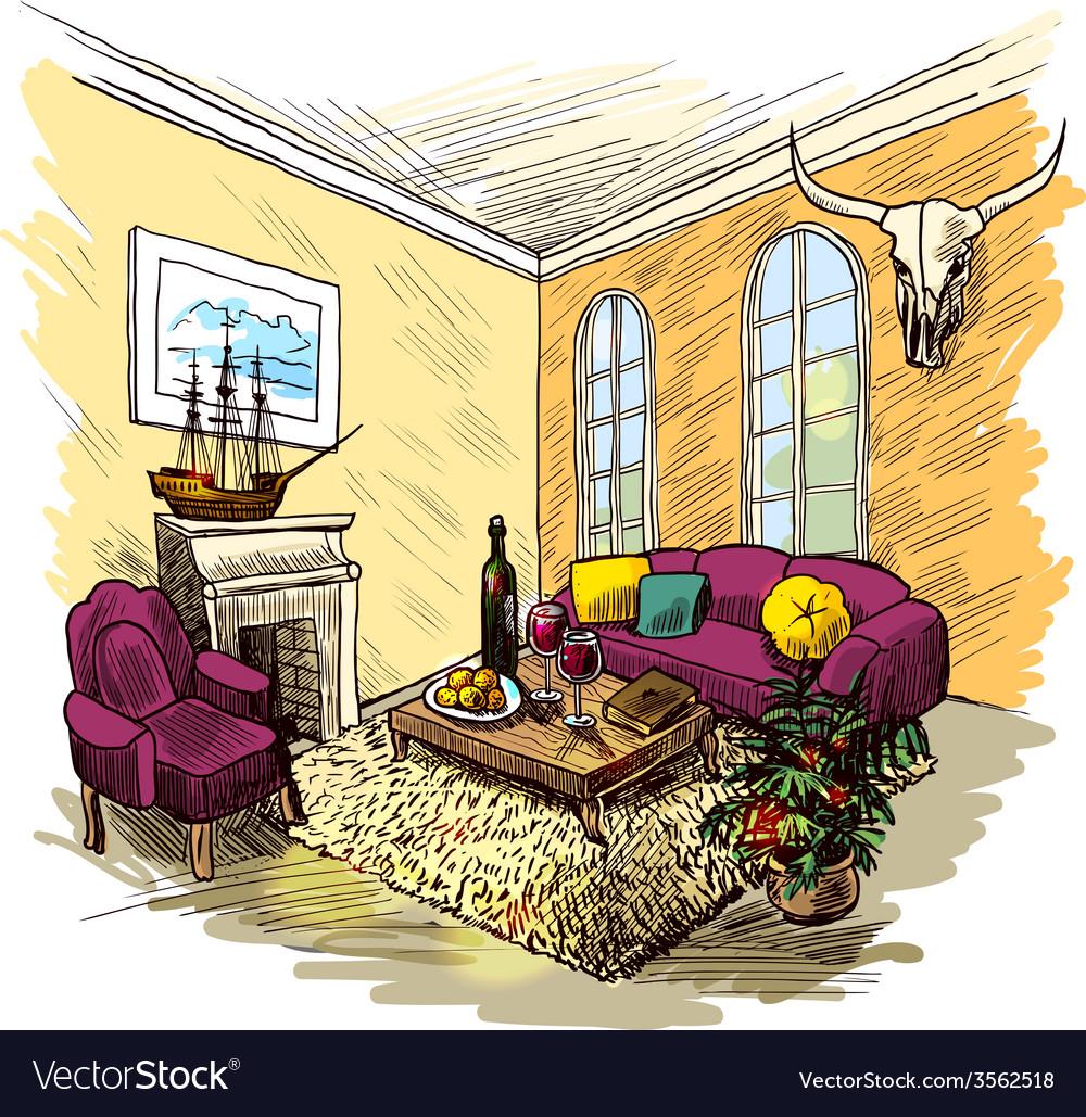 Room sketch color vector | Price: 1 Credit (USD $1)