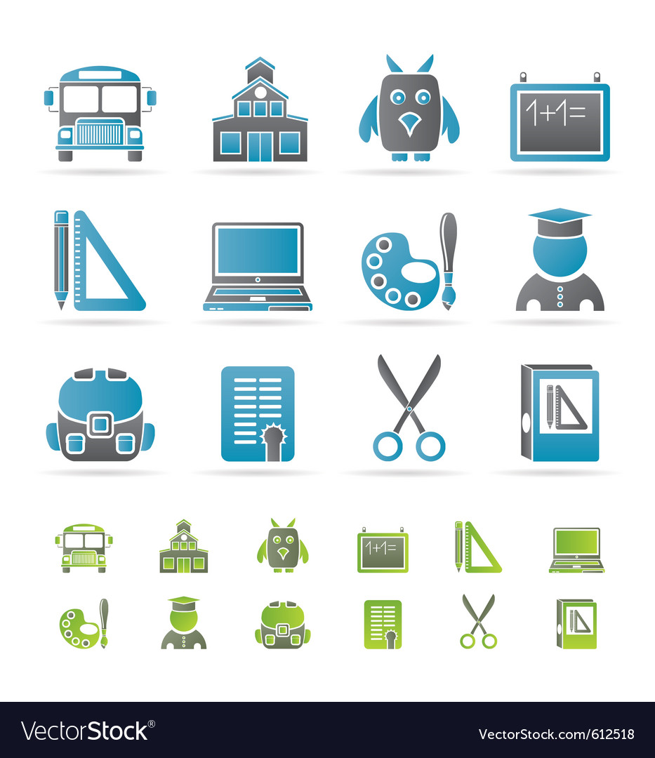 School and education icons vector | Price: 1 Credit (USD $1)