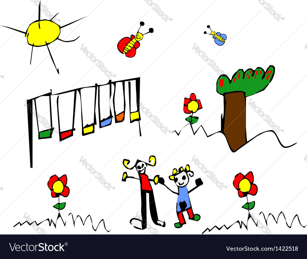 Spring time child drawing vector | Price: 1 Credit (USD $1)