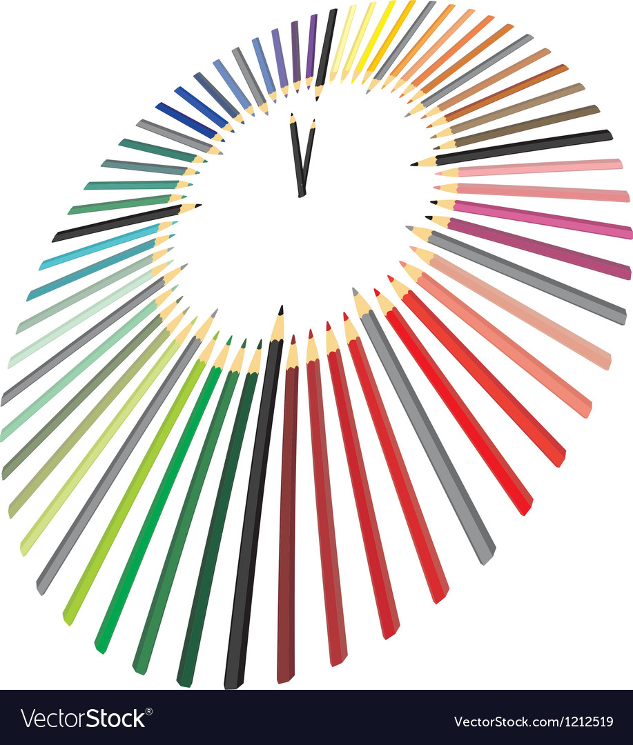 Clock made of crayons in perspective vector | Price: 1 Credit (USD $1)