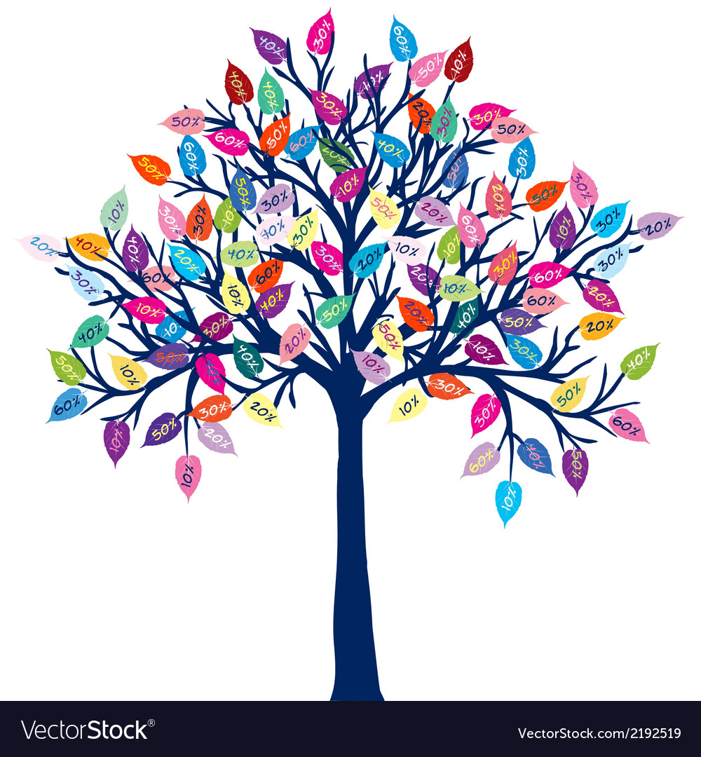 Colored tree with discount leaves vector | Price: 1 Credit (USD $1)