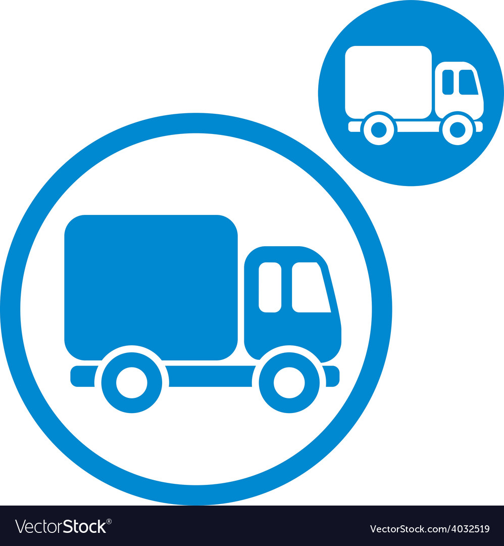 Delivery car small truck simple single color icon vector | Price: 1 Credit (USD $1)