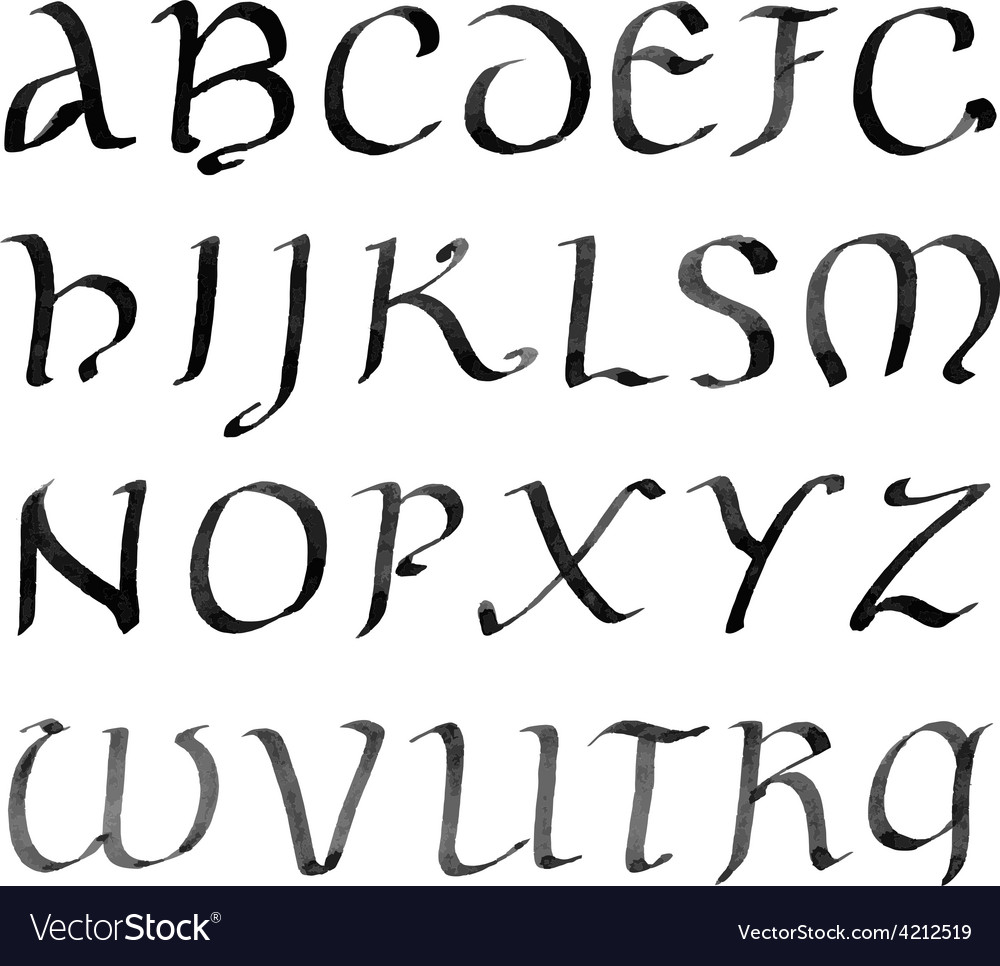Hand drawn letters retro alphabet ink vector | Price: 1 Credit (USD $1)