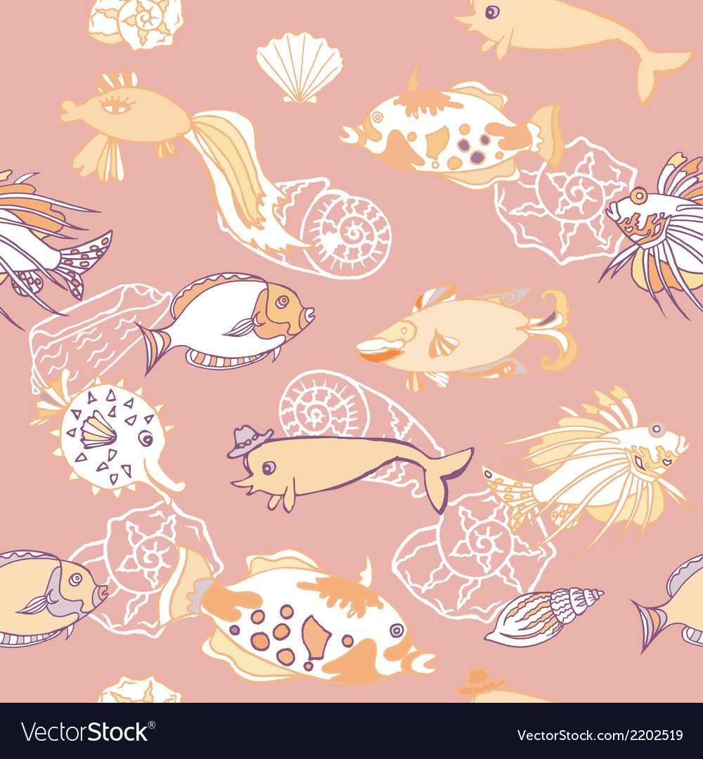 Seamless pattern with fishes and cockleshells vector | Price: 1 Credit (USD $1)