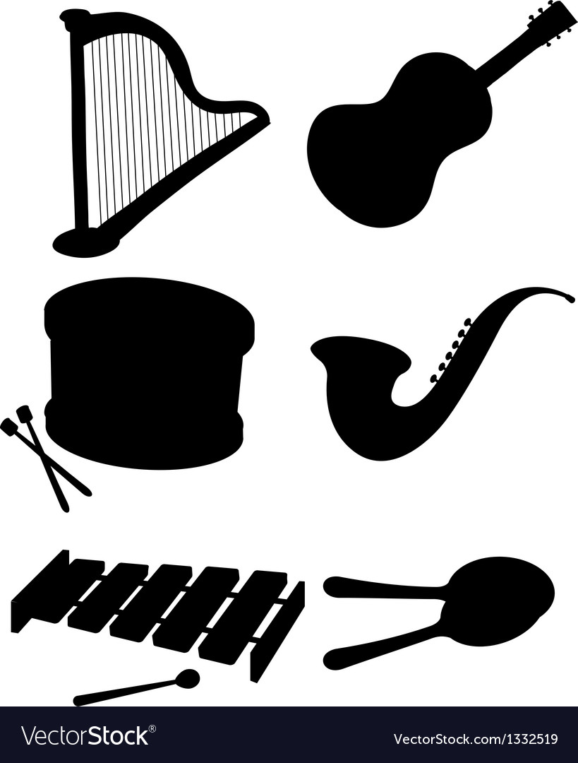 Six silhouettes of musical instruments vector | Price: 1 Credit (USD $1)