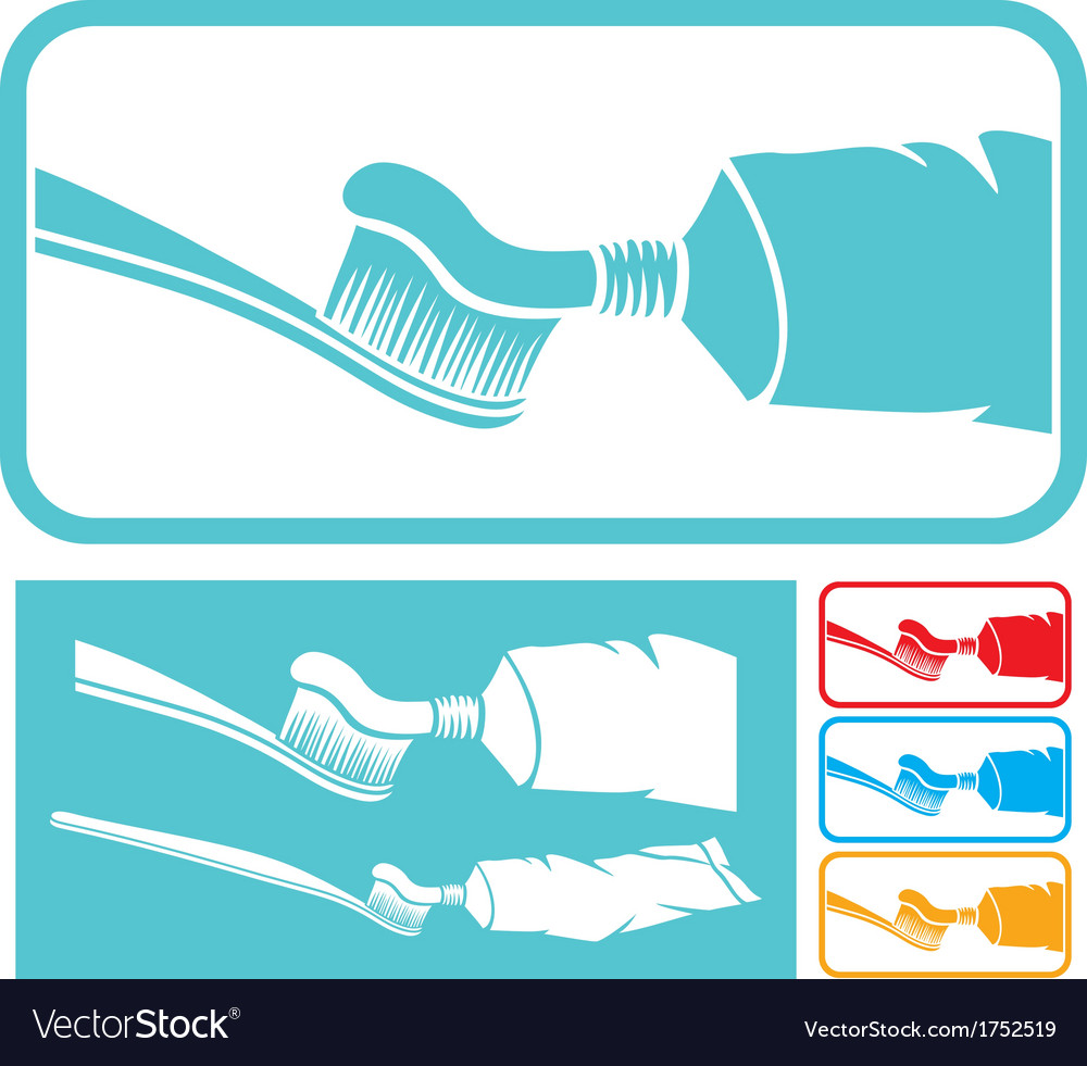 Toothbrush and toothpaste icon vector | Price: 1 Credit (USD $1)