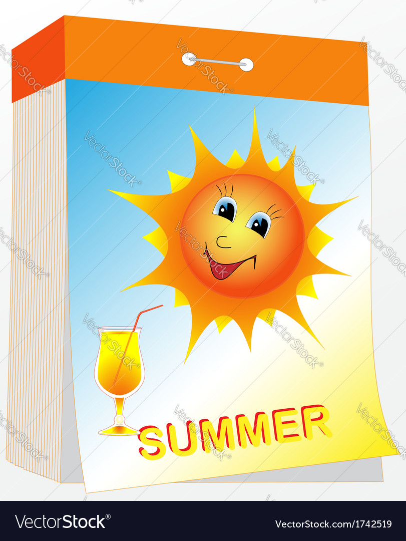 Wall tear off calendar summer vector | Price: 1 Credit (USD $1)