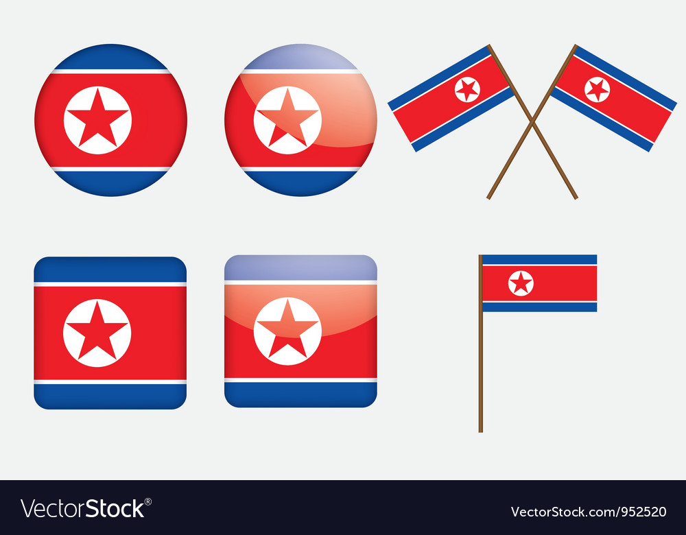 Badges with flag of north korea vector | Price: 1 Credit (USD $1)