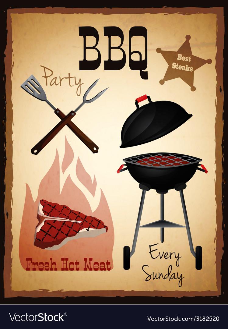 Bbq menu poster vector | Price: 1 Credit (USD $1)
