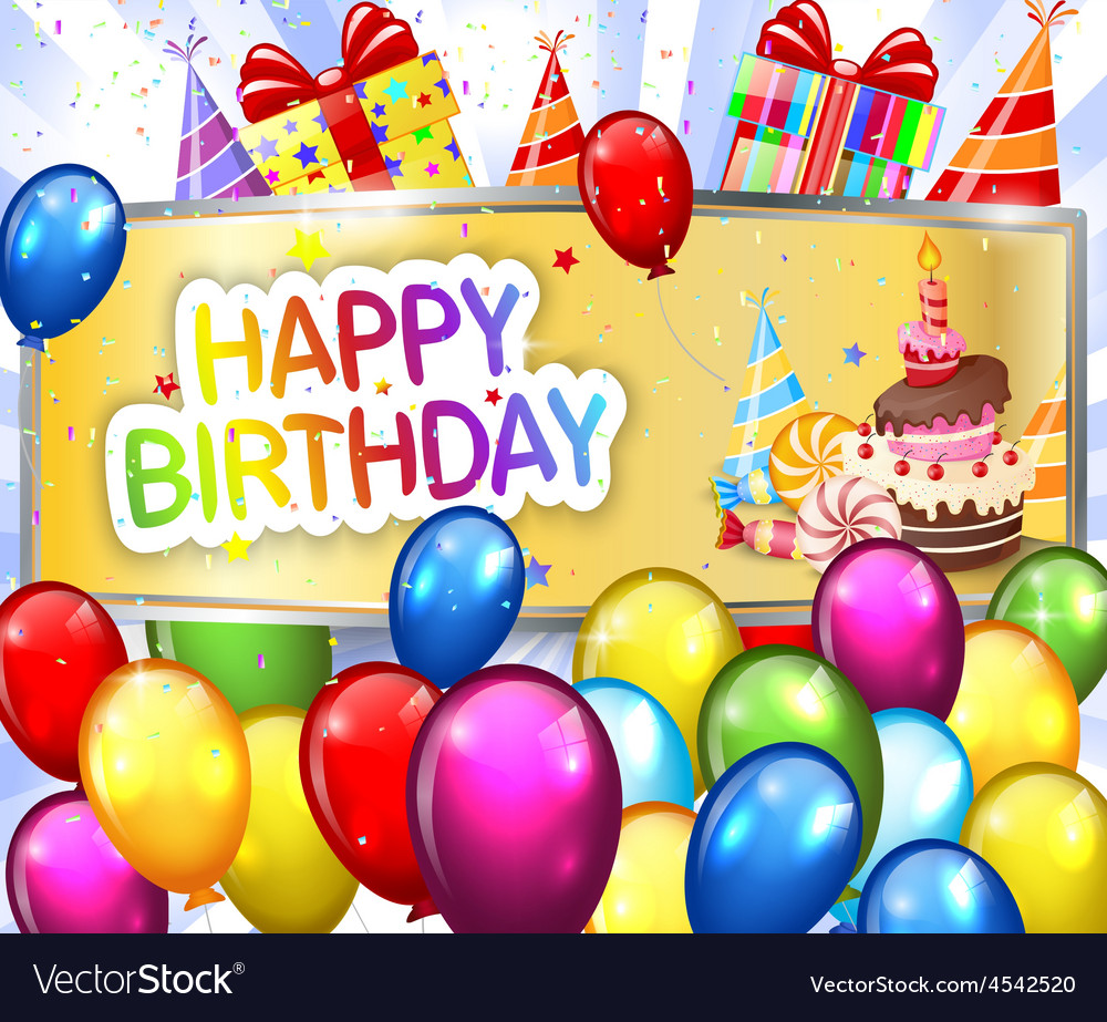 Birthday background with colorful balloon vector | Price: 3 Credit (USD $3)