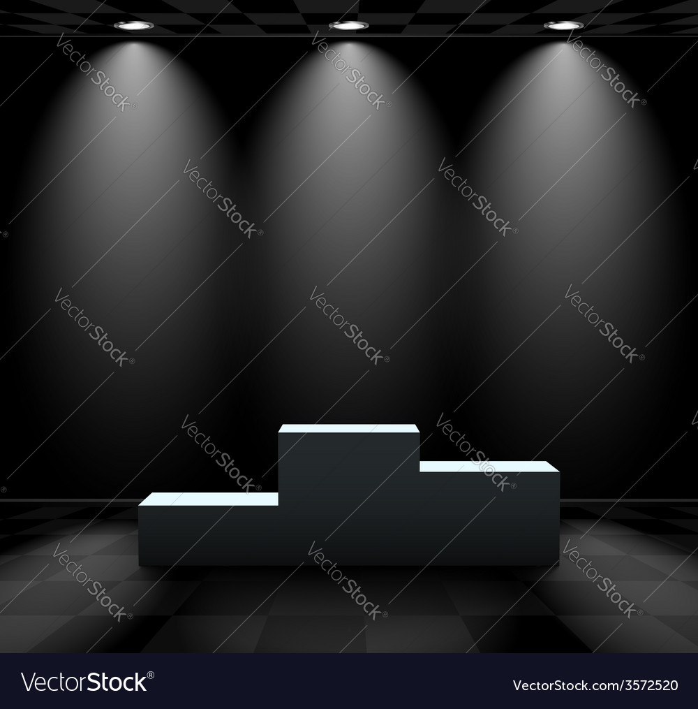 Dark room with lightened pedestal vector | Price: 1 Credit (USD $1)