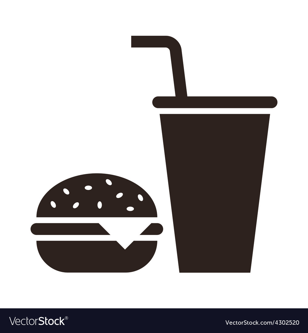 Fast food hamburger and drink icon vector | Price: 1 Credit (USD $1)