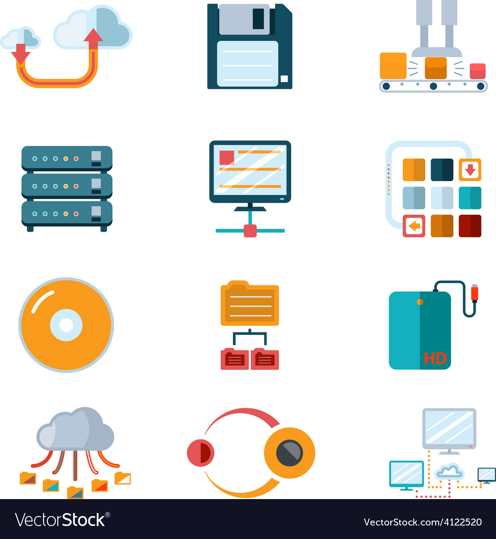 Flat data icons vector | Price: 1 Credit (USD $1)