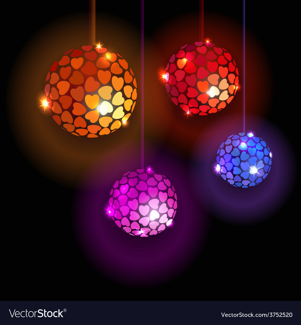 Four disco balls with hearts vector | Price: 1 Credit (USD $1)