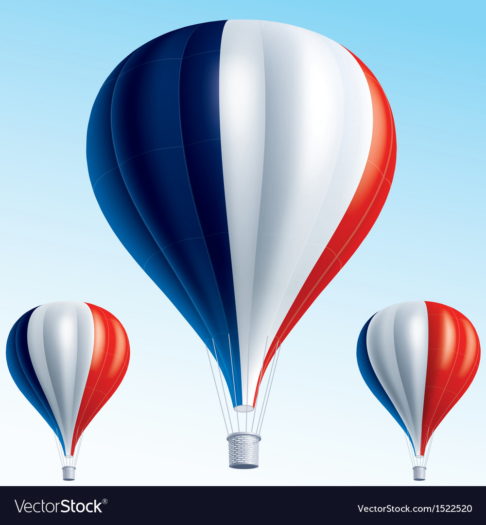 Hot balloons painted as french flag vector | Price: 3 Credit (USD $3)