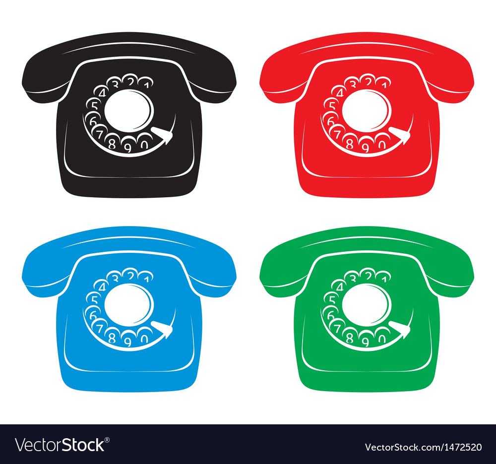 Old phone icons vector | Price: 1 Credit (USD $1)