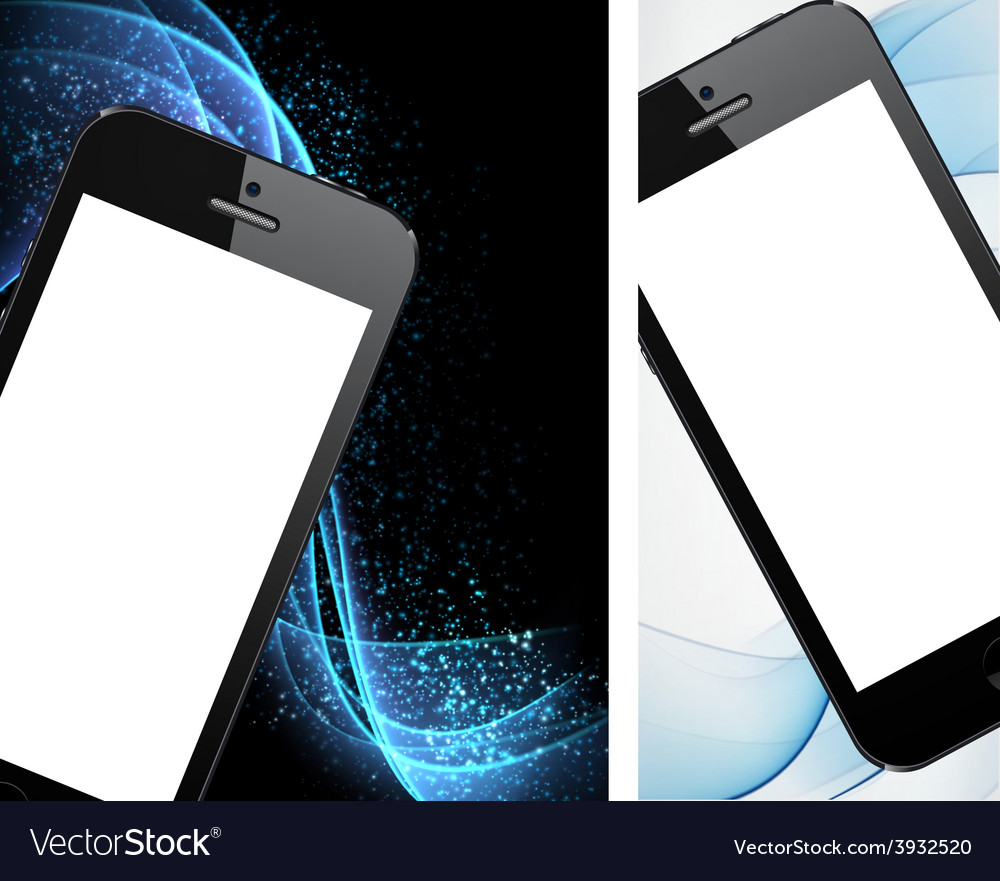 Realistic black smartphone backgrounds vector | Price: 1 Credit (USD $1)