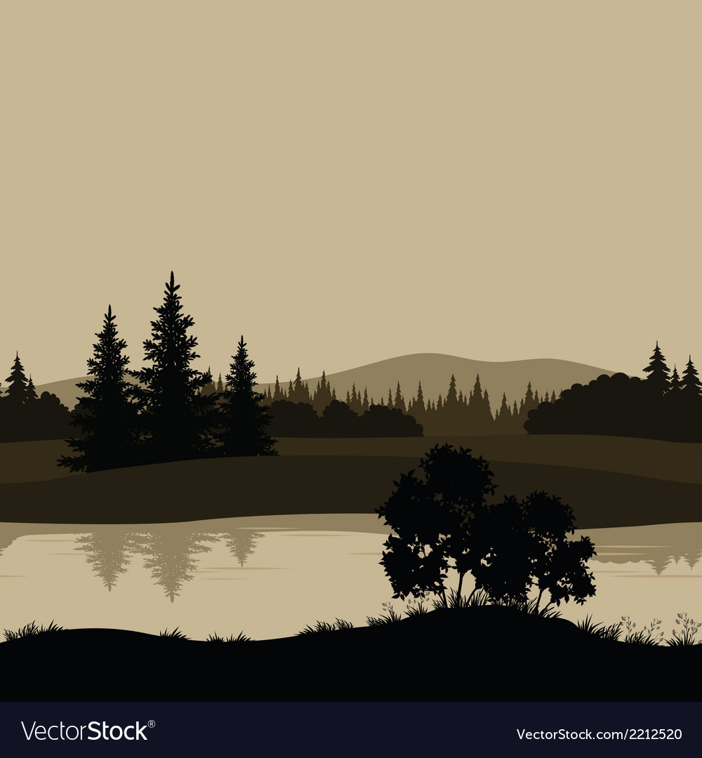 Seamless landscape trees river and mountains vector | Price: 1 Credit (USD $1)