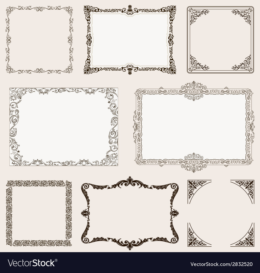Set ornate frames and vintage scroll elements vector | Price: 1 Credit (USD $1)