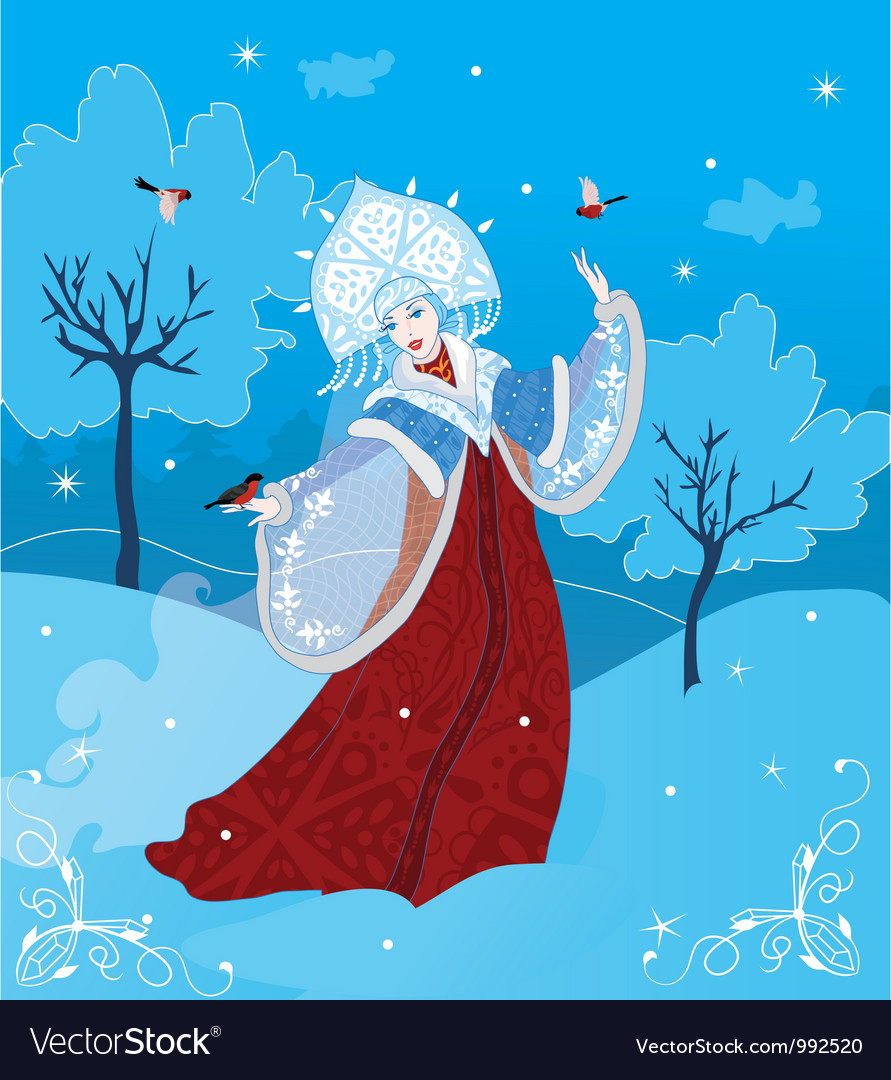 Snow maiden russian style vector | Price: 3 Credit (USD $3)