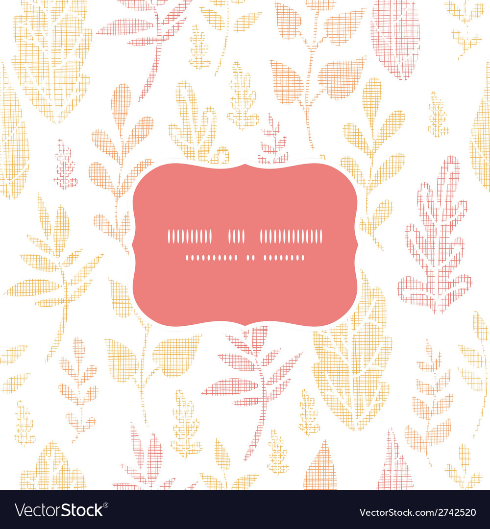 Textile textured fall leaves frame seamless vector | Price: 1 Credit (USD $1)
