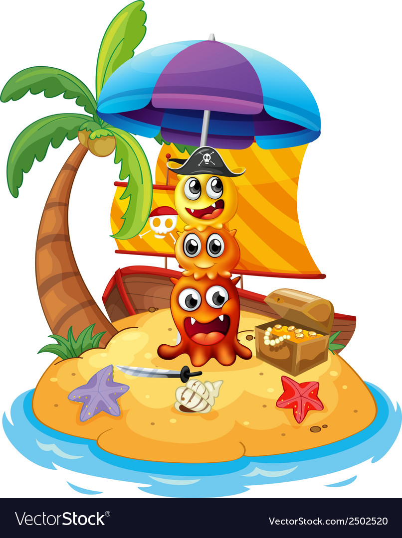 Three playful pirate monsters in the island vector | Price: 1 Credit (USD $1)
