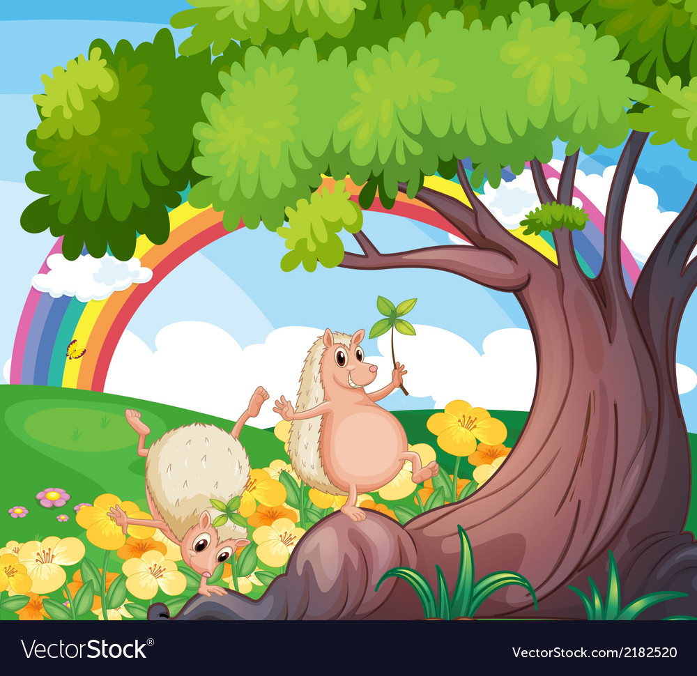 Two wild animals near the tree with flowers vector | Price: 1 Credit (USD $1)