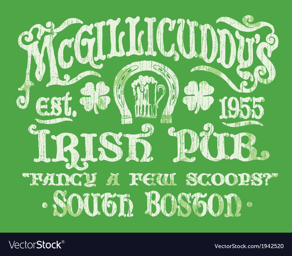 Vintage irish pub sign t-shirt graphic vector | Price: 1 Credit (USD $1)