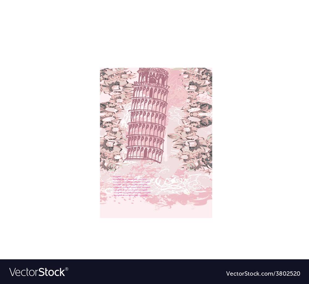 Vintage pisa tower background vector | Price: 1 Credit (USD $1)