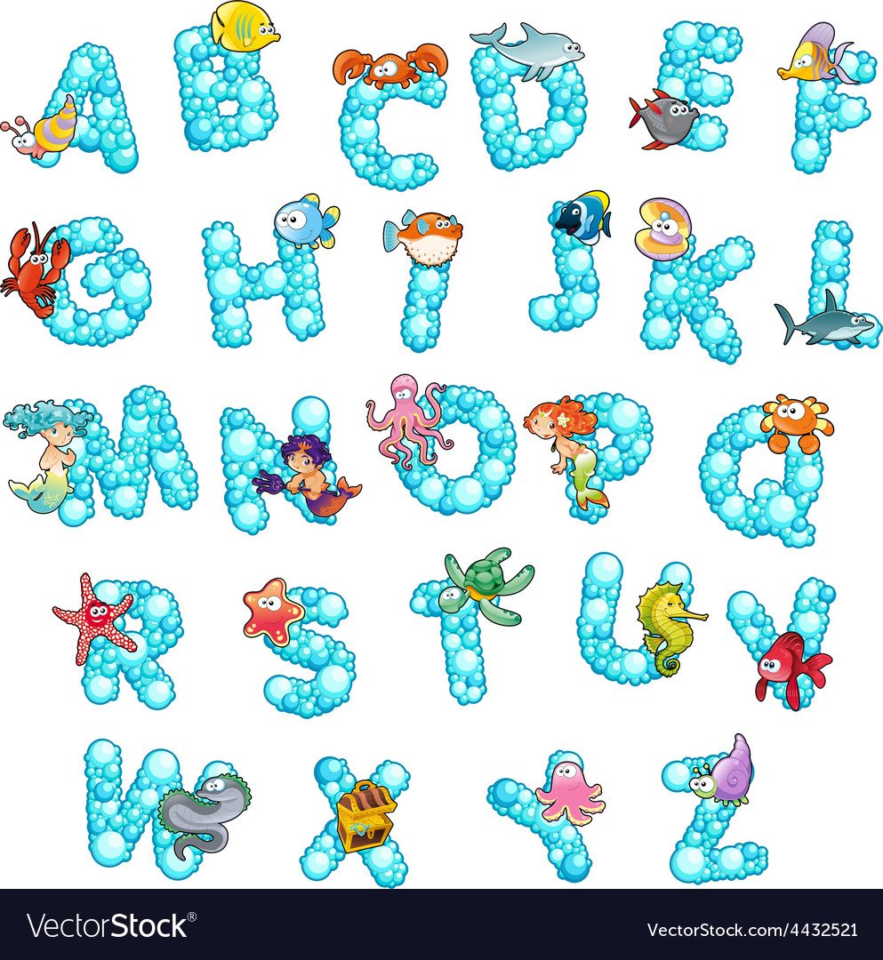 Alphabet with fish and bubbles vector | Price: 3 Credit (USD $3)