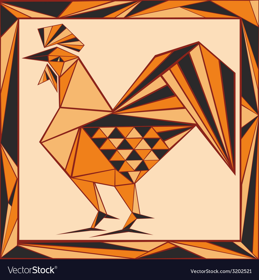 Chinese horoscope stylized stained glass rooster vector | Price: 1 Credit (USD $1)