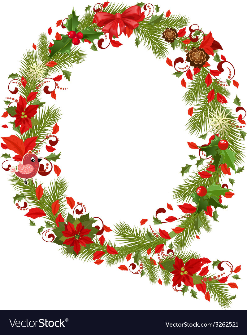 Christmas floral tree letter q vector | Price: 1 Credit (USD $1)