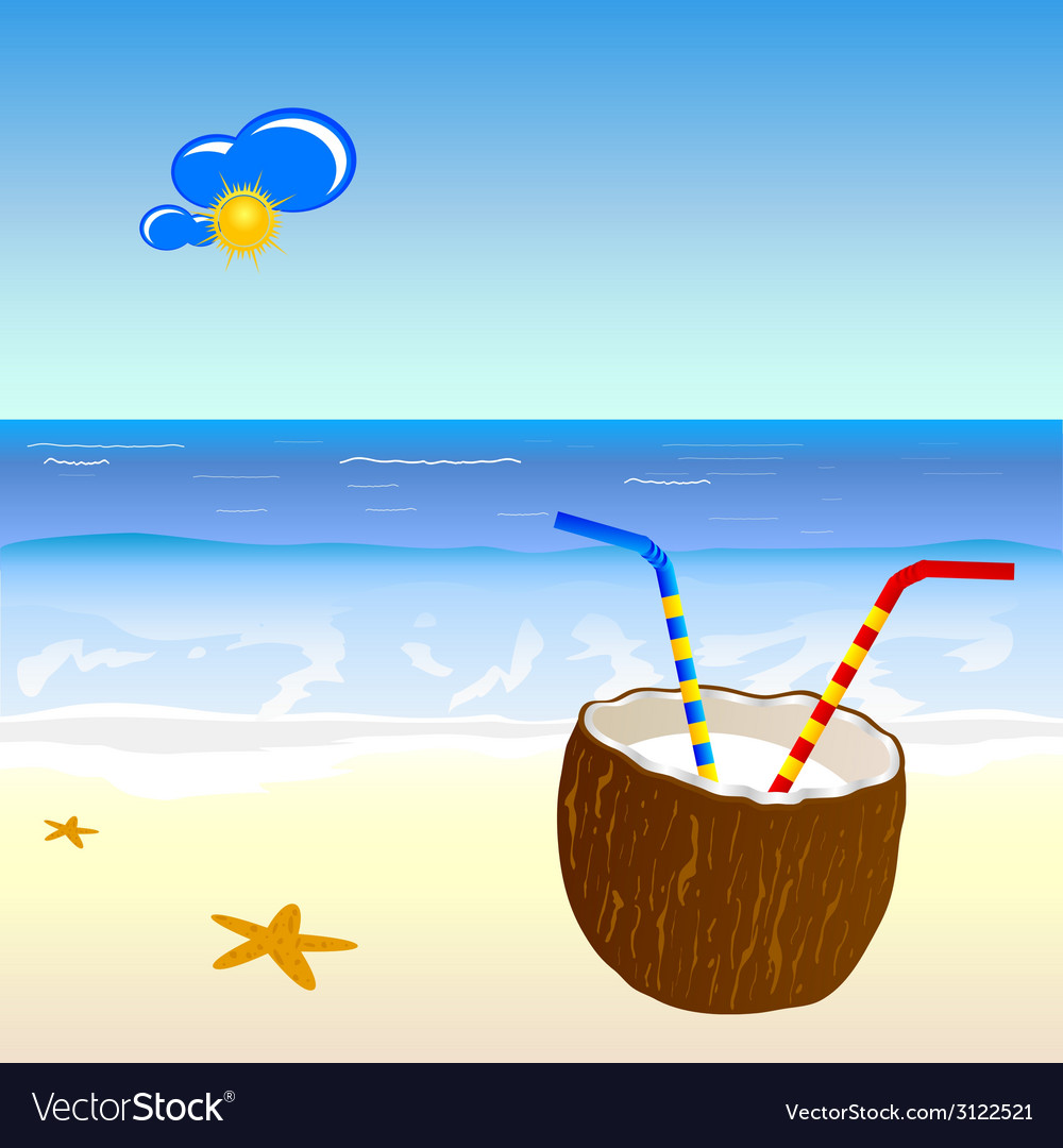 Coconut and beach part two vector | Price: 1 Credit (USD $1)