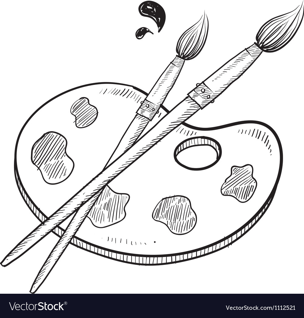 Doodle artist art paint brush vector | Price: 1 Credit (USD $1)