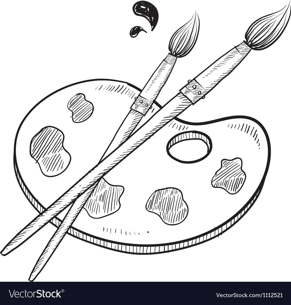 Doodle artist art paint brush vector | Price: 1 Credit (USD $1)