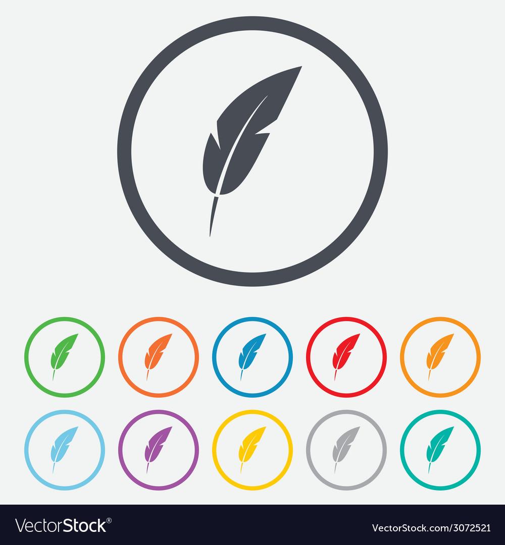 Feather sign icon retro pen symbol vector | Price: 1 Credit (USD $1)