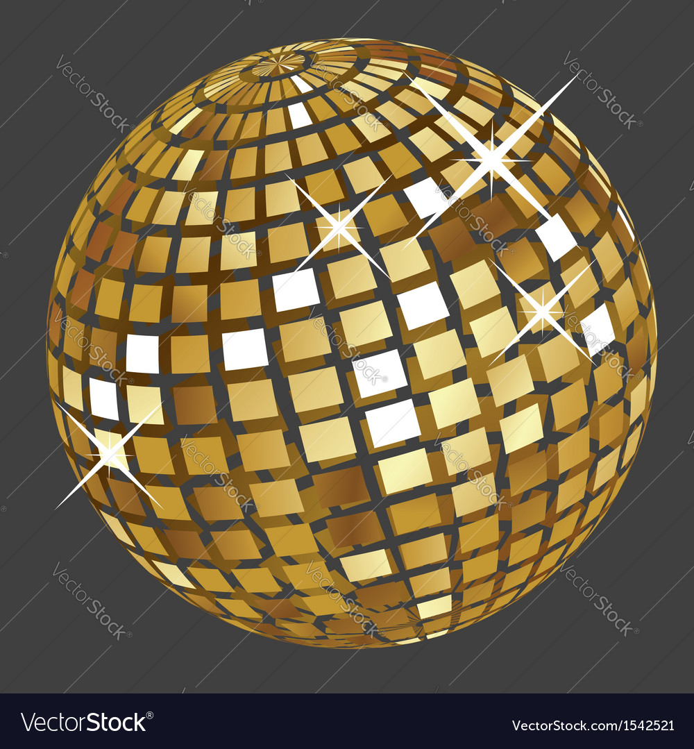 Golden disco ball2 vector | Price: 1 Credit (USD $1)
