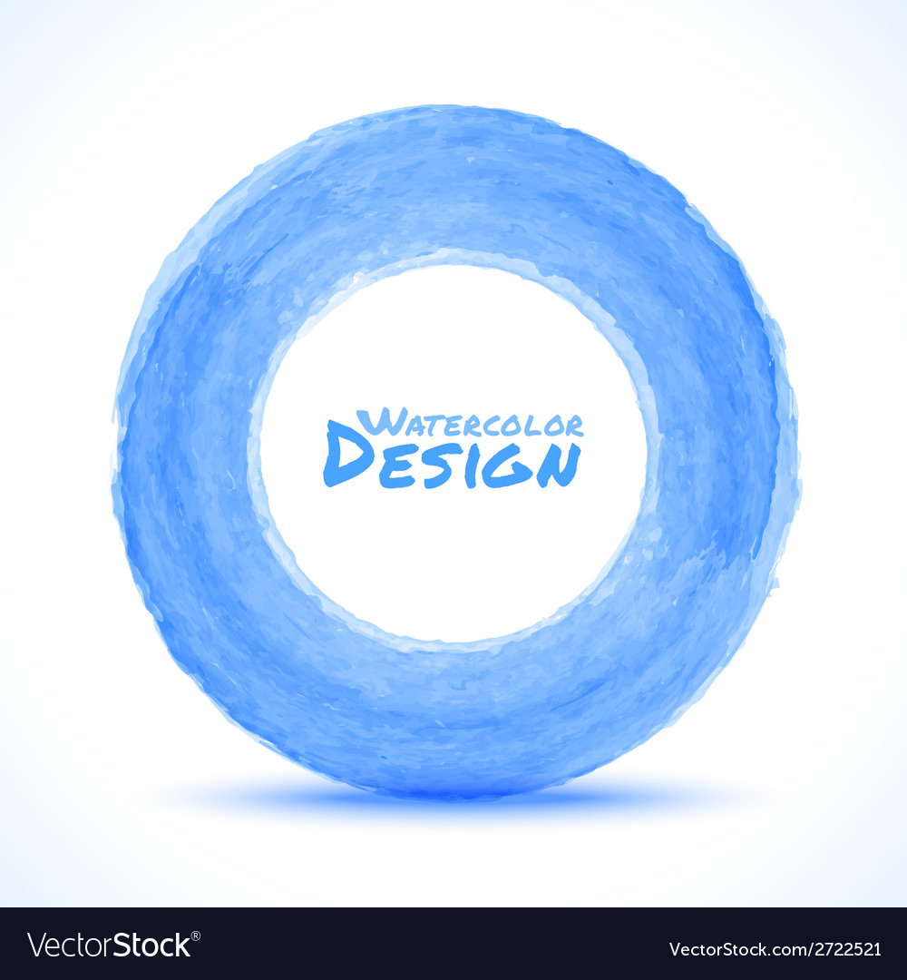 Hand drawn watercolor blue light circle design ele vector | Price: 1 Credit (USD $1)
