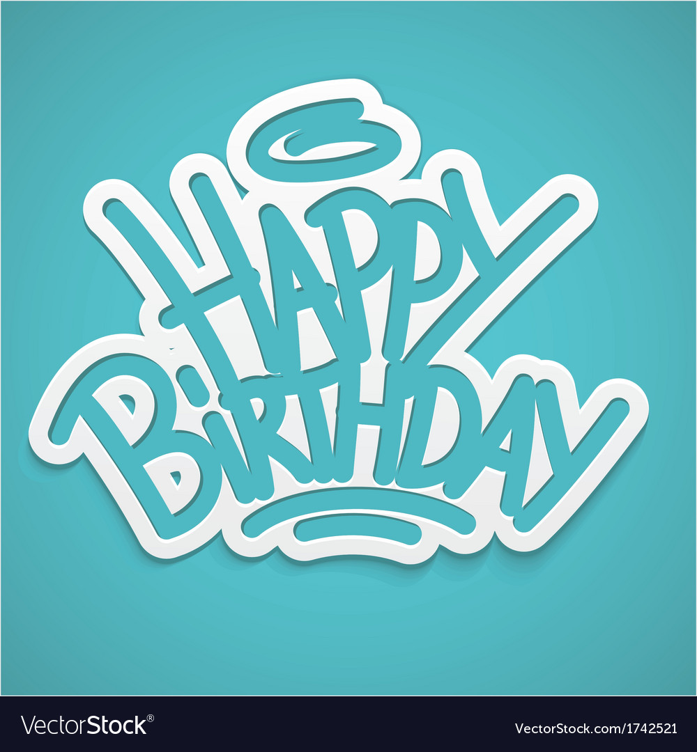Happy birthday greetings label lettering card vector | Price: 1 Credit (USD $1)
